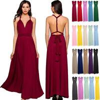 Womens Ladies Convertible Multi Way Wrap Bridesmaid Wedding Evening Formal Dress
