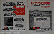1951 Galion Motor Grader advertisements x2, Canadian advert vintage construction