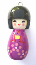 1 x WOODEN  JAPANESE DOLL CHARMS PURPLE 50mm x 20mm APPROX