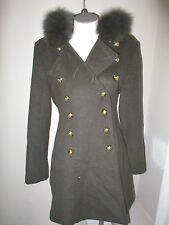 Hillary Radley Fox Fur Trim Wool Double Breasted Coat  4 Green NWOT