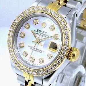 ROLEX DATEJUST 18K YELLOW GOLD STEEL WHITE MOTHER PEARL DIAMOND DIAL BEZEL 69173
