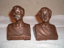 Vintage Weidlich Brothers Youth Bronze d Bookends Antique Young Boys/Men