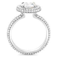 2.40 Ct. Halo Oval Cut Eternity Micro Pave Diamond Engagement Ring H,VS1 EGL 14K