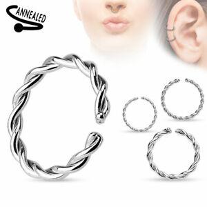 316L Surgical Steel Nose Cartilage Hoop Rings Steel open nose ring Twist