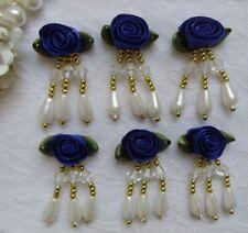 "1.5"" Royal Blue Bead Dangle Fringe Swirl Satin Ribbon Roses Flower-10 pcs-RB026D"
