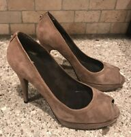 Stuart Weitzman Taupe Brown Suede Platform Peep Toe Pumps Women's Size 9 M