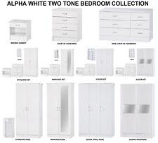 Alpha White High Gloss Two Tone | Modern Bedroom Furniture Units & Trio Sets