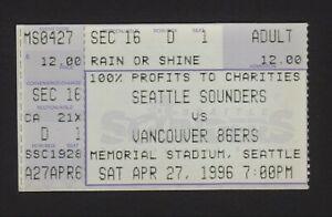 SEATTLE SOUNDERS Ticket Stub - Vancouver 86ers - 1996 A-League  Memorial Stadium