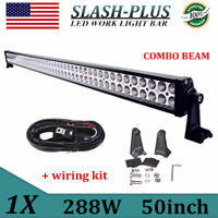 50inch 288W LED Work Combo Light Bar Truck Tractor ATV Forklift+Cable Harness