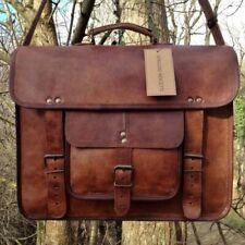 Vintage Art Messenger Shoulder Briefcase Laptop Bag Leather Men's Genuine Brown