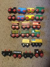 Pre Owned Lot Of Wooden Trains, 20 Cars.  See Pictures For Details.  QQ.