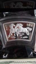2002 china fan horse silver  coin coa box
