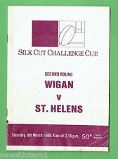 #D212. GREAT BRITAIN RUGBY LEAGUE PROGRAM - WIGAN V ST  HELENS  8th March 1986