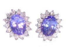 2.50ct Tanzanite & Diamond Earrings in 14K White Gold