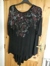 YOURS BLACK FLORAL AND SEQUIN PRINT LONG 3/4 SLEEVE LONG TOP  18  PLUS SIZE