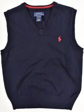 POLO RALPH LAUREN Boys' Knitted Vest Top, PIMA COTTON, Blue, sizes 5 7 years
