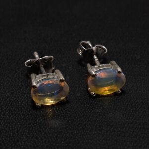 Natural Ethiopian Welo Fire Opal 925 Sterling Silver Jewelry Fine Earrings Stud