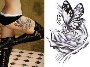 Temporary Tattoo Large Black Rose Butterfly Body Art Fake Waterproof Ladies
