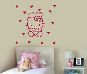 Hello Kitty Personalised Wall Stickers With Hearts, Wall Art Murals Home decore