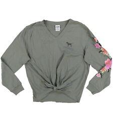 19a7e1d0f Victoria s Secret Pink Tie Front Floral Long Sleeve V Neck Shirt Medium V11