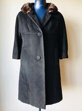 Vintage Rothmoor Wool Full Length Black Jacket Coat with Fur Collar