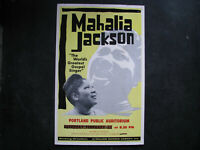 "1961 MAHALIA JACKSON Concert Poster Window Card 14x22"" VINTAGE GOSPEL"