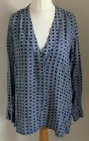 H&M Size Euro 40 Ladies Blue Top With White Print Detail