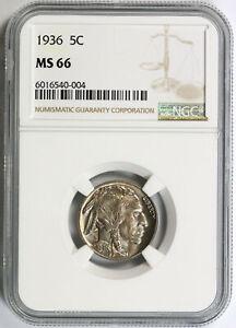 1936 5c Buffalo Nickel NGC MS66