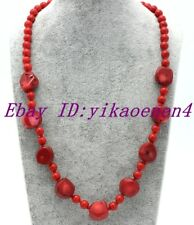 """Beautiful Handmade 6mm&6x14mm Coin Red Coral Beads Necklace 18"""""""