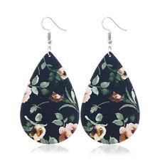 Floral Printing Earrings Wood Geometric Drop Hook Dangle Silver Plated Women