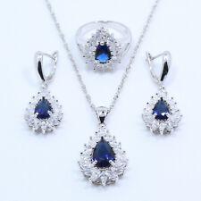 Madagascar Blue Sapphire & Topaz  925 Silver Gemstone Earrings  Gift Box