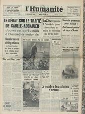 L'Humanité (12 juin 1963) Traité De Gaulle-Adenauer - Guerre aux algériens -
