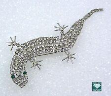Vintage Lizard Pin Brooch Clear Rhinestones Green Eyes Silver Tone