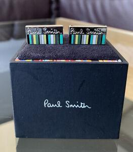 Brand New PAUL SMITH Rectangular Enamel Green Multistripe Cufflinks NO BOX