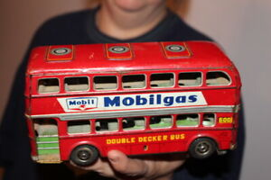 Vintage Shell Mobilgas Mobil Double Decker Bus Japan Metal Friction Toy Sign