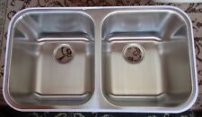 "Stainless Steel Kitchen Sink Under mount Amerisink AS101 31""x18"" Equal Bowl 18g"