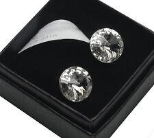 Sterling Silver Stud Earrings 12mm Rivoli Crystals from Swarovski®