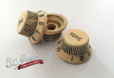 SET OF 3 AGED RELIC FENDER IVORY CREAM KNOBS VINTAGE STRATOCASTER 59 PARTS