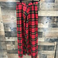 Vintage Women's Red Plaid Long Wrap Skirt Size 10