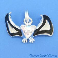 ENAMEL HALLOWEEN FLYING BAT 3D .925 Solid Sterling Silver Traditional Charm