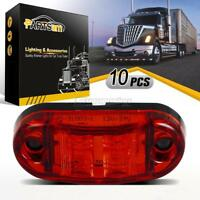 """10Pcs 2.5"""" Red LED Lamp 2 Diodes Oval Clearance Trailer Truck Side Marker Light"""