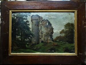 Huile 19ème paysage animé aux ruines signé ? Ecole de Crozant, Barbizon, Dupré..