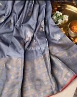 Grey Designer Soft Silk Jacquard Saree Blouse Partywear Sari Indian Clothing
