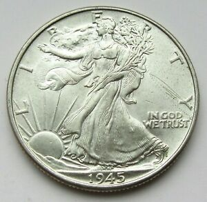 1945 Walking Liberty Half Dollar AU-BU 90% Silver Great Luster & Details #63