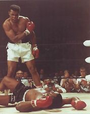 MUHAMMAD ALI FLOORS SONNY LISTON 8X10 PHOTO BOXING PICTURE COLOR