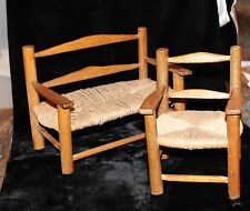 Folk Art Vintage Miniature Chair Bench Cabin Country Hickory Salesman Sample