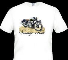 VINTAGE 1935 BSA V TWIN MOTOR BIKE  QUALITY WHITE TSHIRT  S M L 2XL 3XL 4XL 5XL