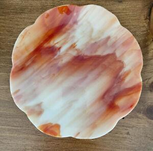 """ANTIQUE Agate Slag Glass Orange/white  Scalloped Rim Plate 1920's Approx 9"""""""
