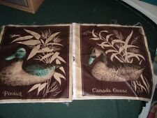 2 Vtg 90s Wild Canada Goose & Pintail Duck Soft Polish Pillow Quilt Blocks #fq