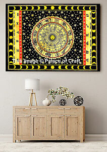 Indian Astrology Tapestry Handmade Wall Hanging Horoscope Table Cover Dorm Decor